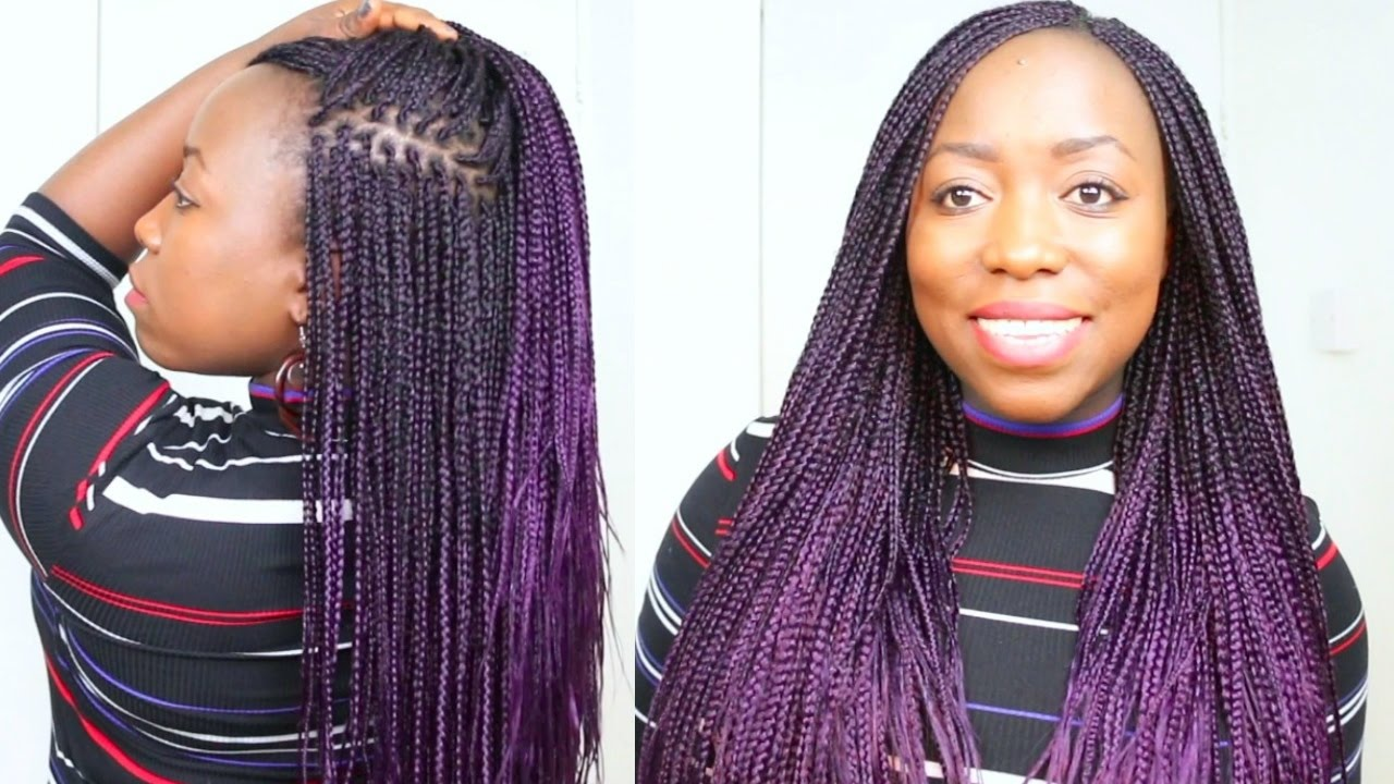 Box Braids Purple Hair at Home On Natural Hair small box ...