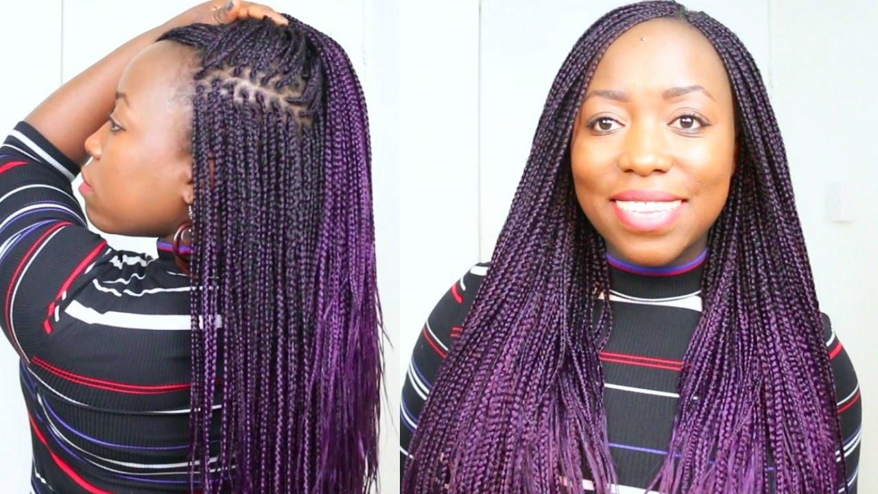 Box Braids Purple Hair at Home On Natural Hair small box ...