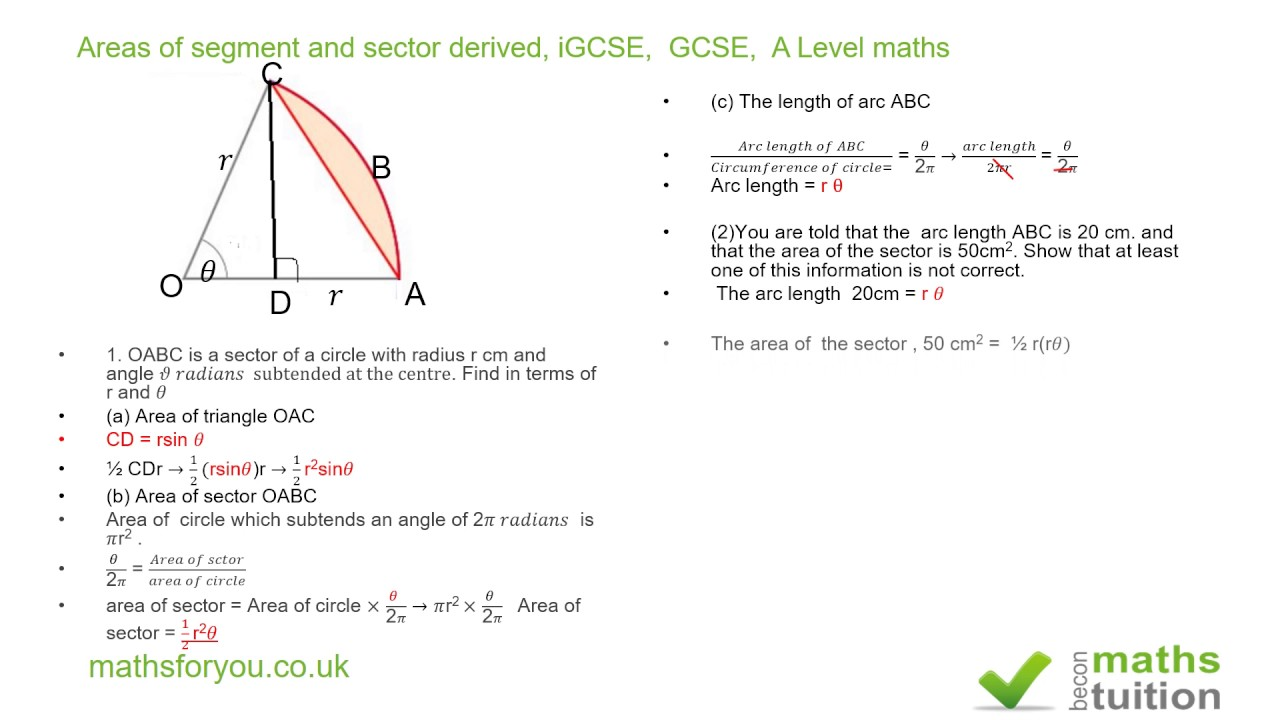 Areas of segment and sector derived igcse gcse a level maths areas of segment and sector derived igcse gcse a level maths ccuart Gallery