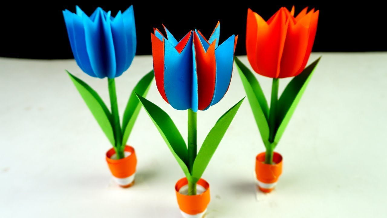 How To Make Flower With Color Paper Small Paper Flower Pot Easy