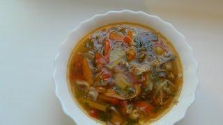 Первые блюда: Суп с овощами на мясном бульоне