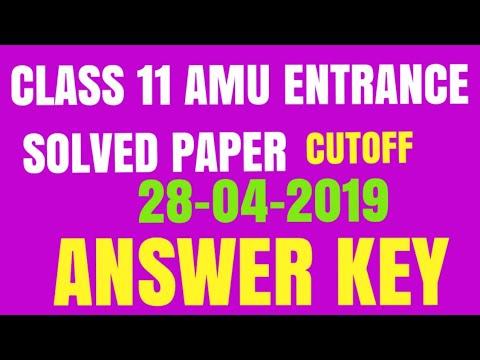 Class 11th amu science entrance answer key 2019- 20   Class 11th Science Answer key 2019-20   amu