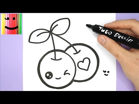 How to draw a cute cherries