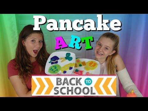 PANCAKE ART CHALLENGE: BACK TO SCHOOL EDITION || Taylor and Vanessa
