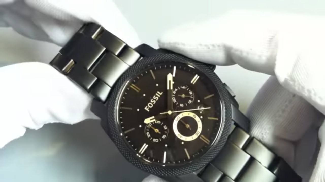 24561e8c18e Men s Black Fossil Machine Chronograph Watch FS4682 - YouTube