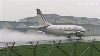 Take Off Saat Hujan Deras Pesawat Xpress Air Boeing 737-500 di Bandara Husein Sastranegara Bandung