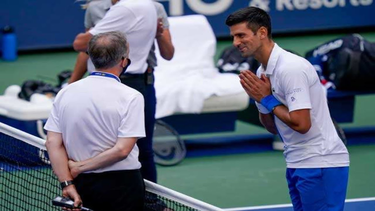 Novak Djokovic Hits Official With Ball Gets Disqualified From Us Open Youtube