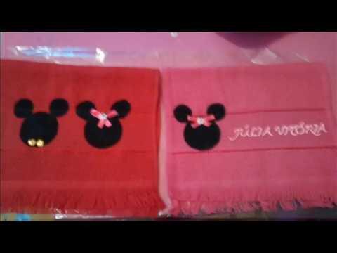🤗 Faça Você Mesma... Toalhinha Personalizada — Tema Minnie e Mickey ❤