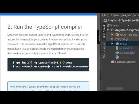 AngularJS-2   TypeScript  Quickstart Walkthrough using WebStorm