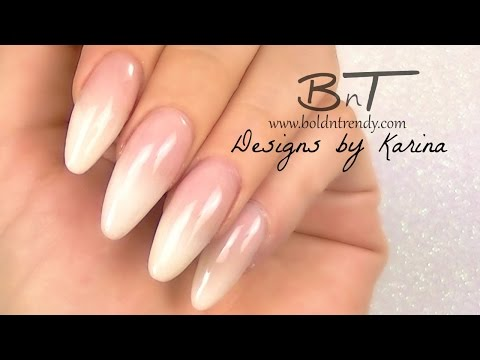 Baby Boomer Almond Acrylic Nails Design