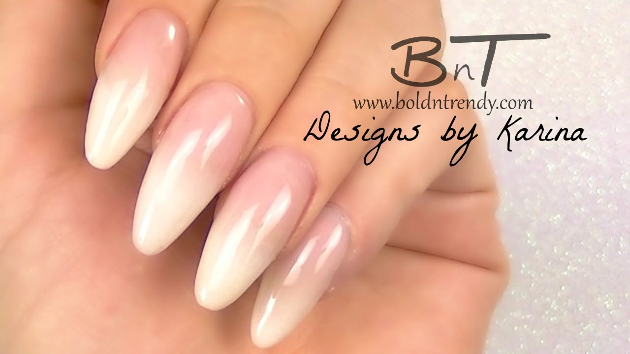 French Fade / Ombre French / Baby Boomer Almond Acrylic Nails ...