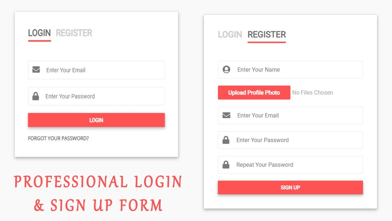 How To Create A Professional Login & Sign Up Page Using Html Css & Javascript