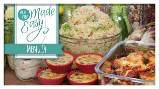 Healthy Meal Prep Menu 14  Tortellini Soup, Eggplant Parmesan, Mini Mushroom Frittatas
