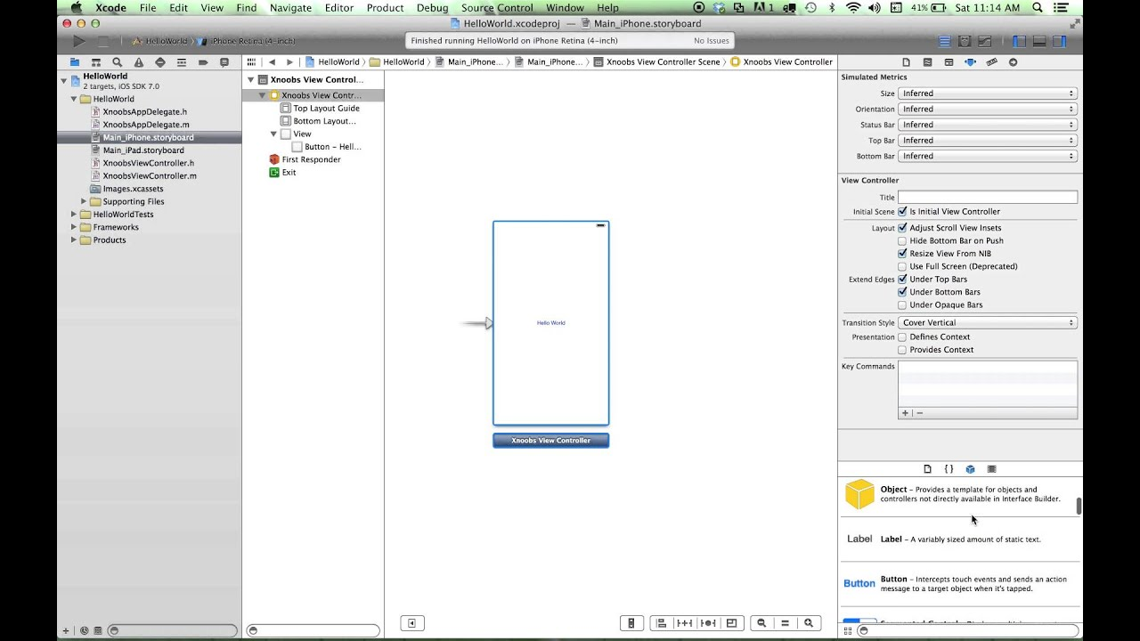 Adding A View Controller Scene To An Xcode 5 App