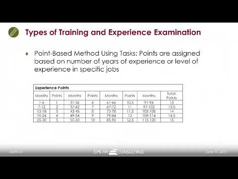 CPS HR Series Webinar: Building a Better Training and Experience (T&E)  Examination