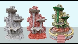 DIY / Cement and sand waterfall at home / beautiful mini waterfall