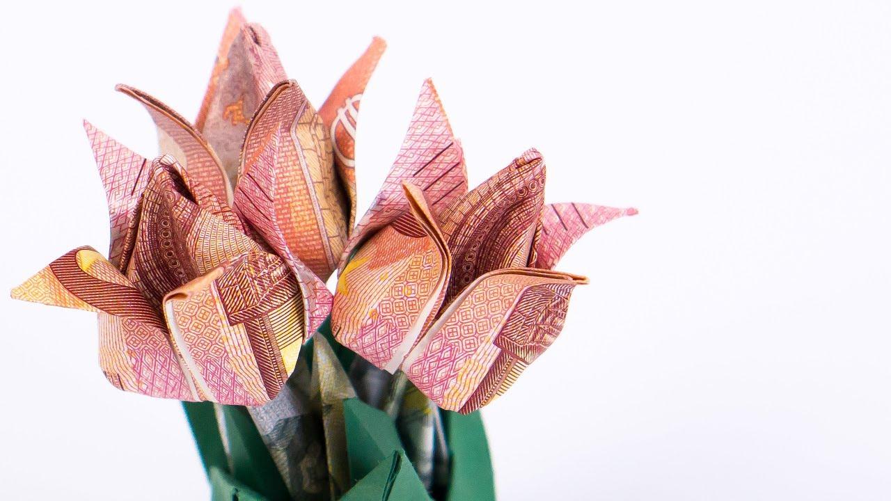Geld Falten Blumen Tulpen Blumentopf Aus Geldscheinen Basteln