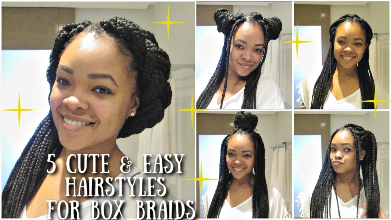 5 Easy Ways To Style Your BoxBraids 2019 , Quick \u0026 Simple!