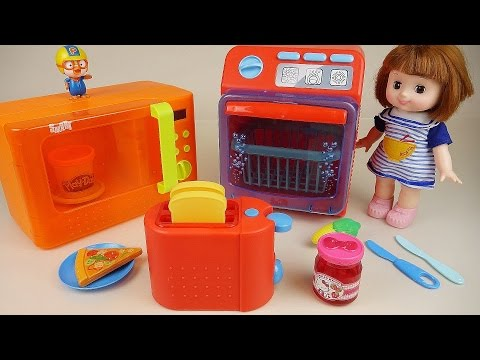 Baby Doll Toaster Micro oven and Dish washer Play Doh cooking toys