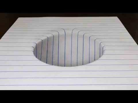 How to Draw a Round Hole in Line Paper Trick Art