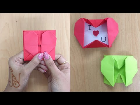 How To Make Origami Heart Box | DIY | Envelop Box With Paper | Paper Craft | Paper Heart Message Box