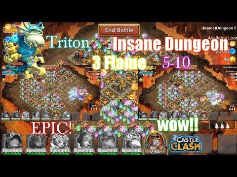 Castle Clash - Triton 3flame Insane Dungeon 5-10 [Insane Damage!] WOW