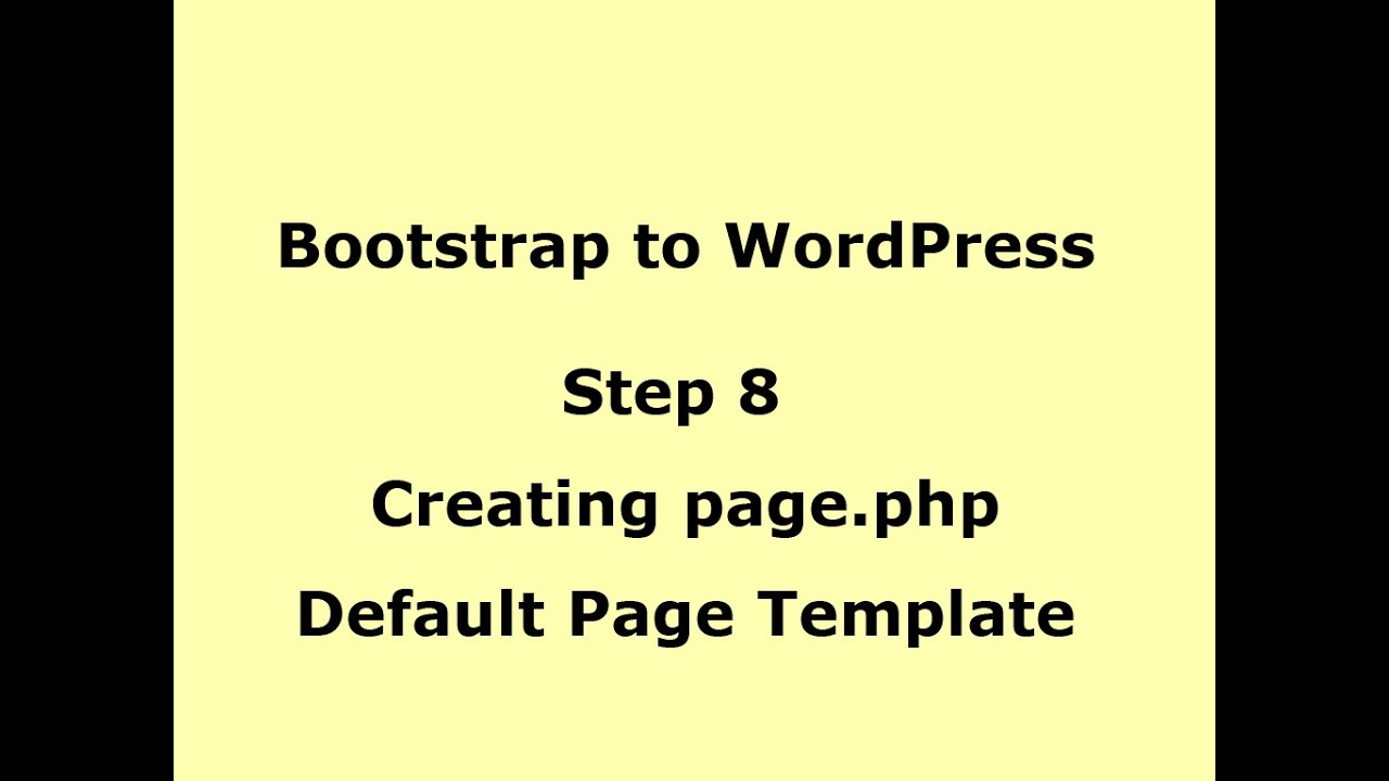 WordPress Tutorial - Creating page.php (default Template) - Step 8 ...