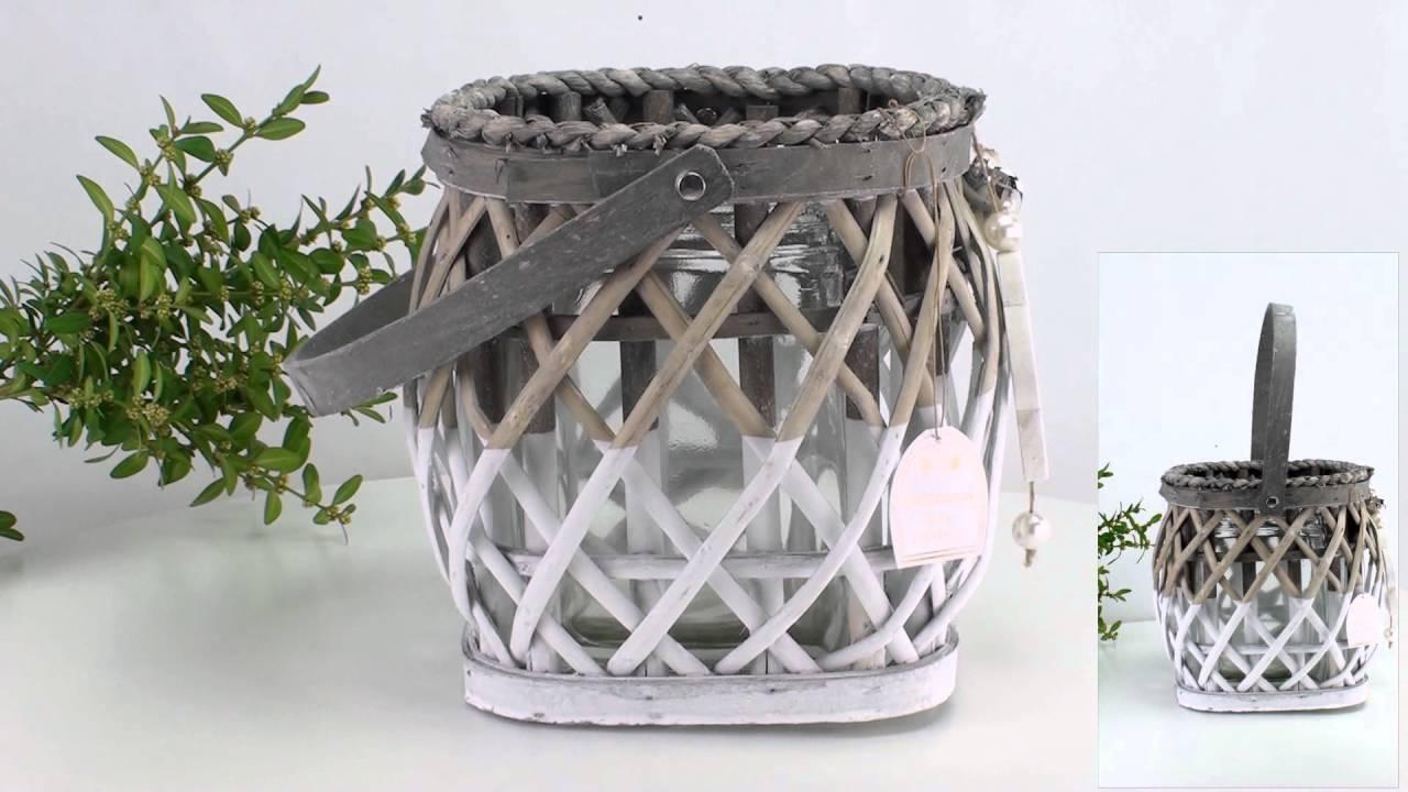 Formano Rattan Windlicht Calipso 20cm Leuchtglas Teelicht