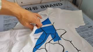 오프화이트 흰색 파란색 프린팅 티셔츠 얼룩제거 세탁복원…