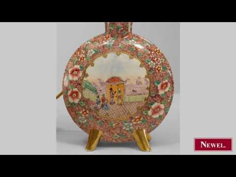 Antique Pair of English Victorian porcelain pilgrim shaped