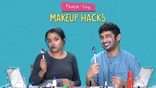 People Try Makeup Hacks | Ft. Aakansha & Akshay | Ok Tested
