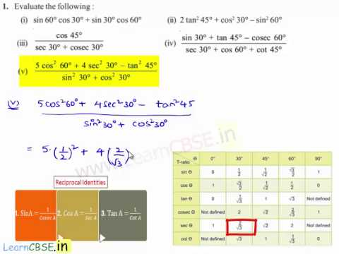Full download ncert solutions for cbse class 10 maths for Trigonometric ratios table 0 360