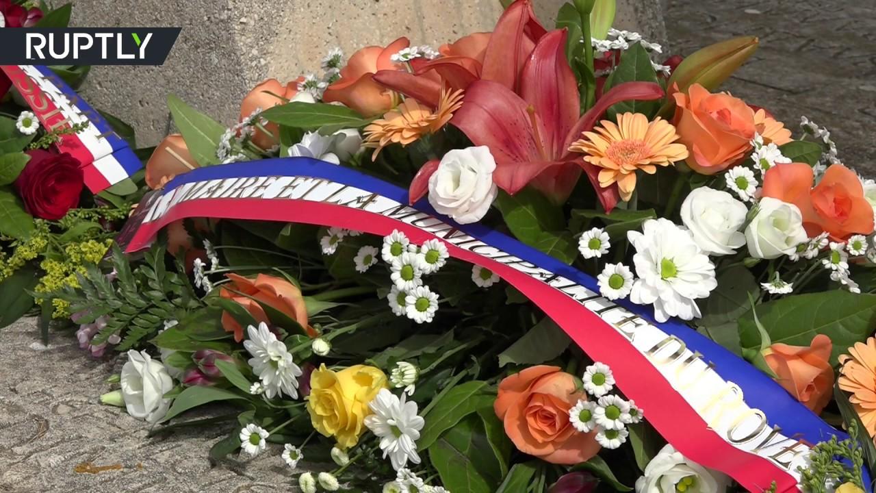Возложение цветов к мемориалу советских лётчиков, погибших при тушении лесных пожаров во Франции