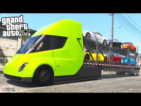 GTA 5 - Delivering Teslas in a Tesla Car Carrier Truck Missi