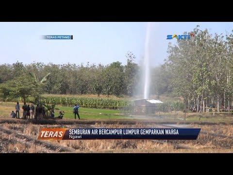 NGAWI - Semburan Air Dan Lumpur Muncul Dari Pompa Pertanian Gegerkan Warga