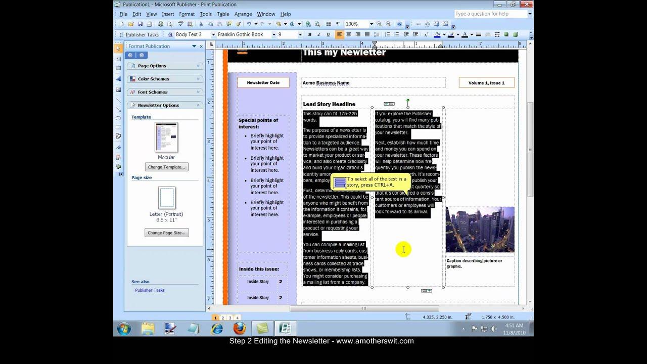 Office Publisher How To Create A Newsletter With Microsoft Office Publisher 2007 Video