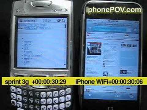 iPhone vs. Treo Download speed Test (Sprint 3g vs. iPhone Wi
