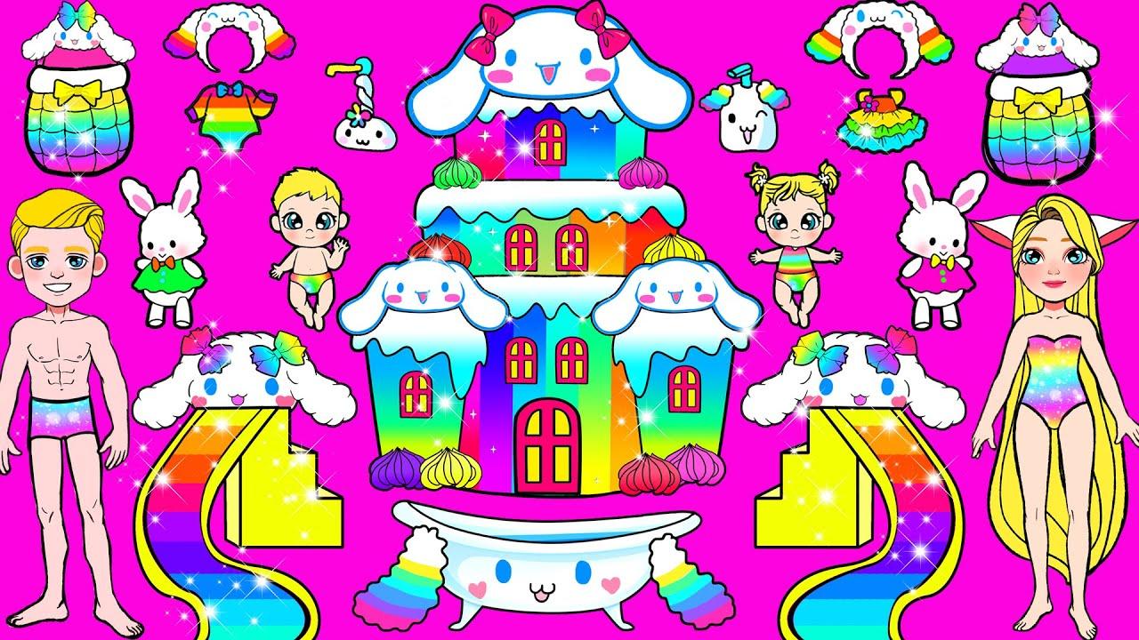 Paper Dolls Dress Up - Rabbit Cinnamoroll Rainbow Stunning Handmade Dresses - Barbie Story & Crafts