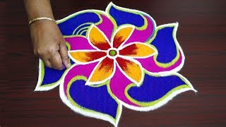Simple and easy colourful rangoli design beautiful kolam with 7x4 dots muggulu for beginners