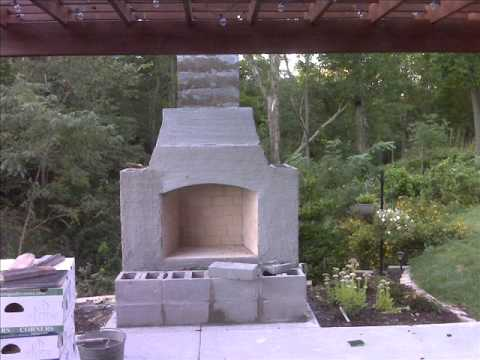 Fire Rock Outdoor Fireplace built by Mike & Nancy Watson. We built this gorgeous fireplace using a fireplace kit from Fire Rock.