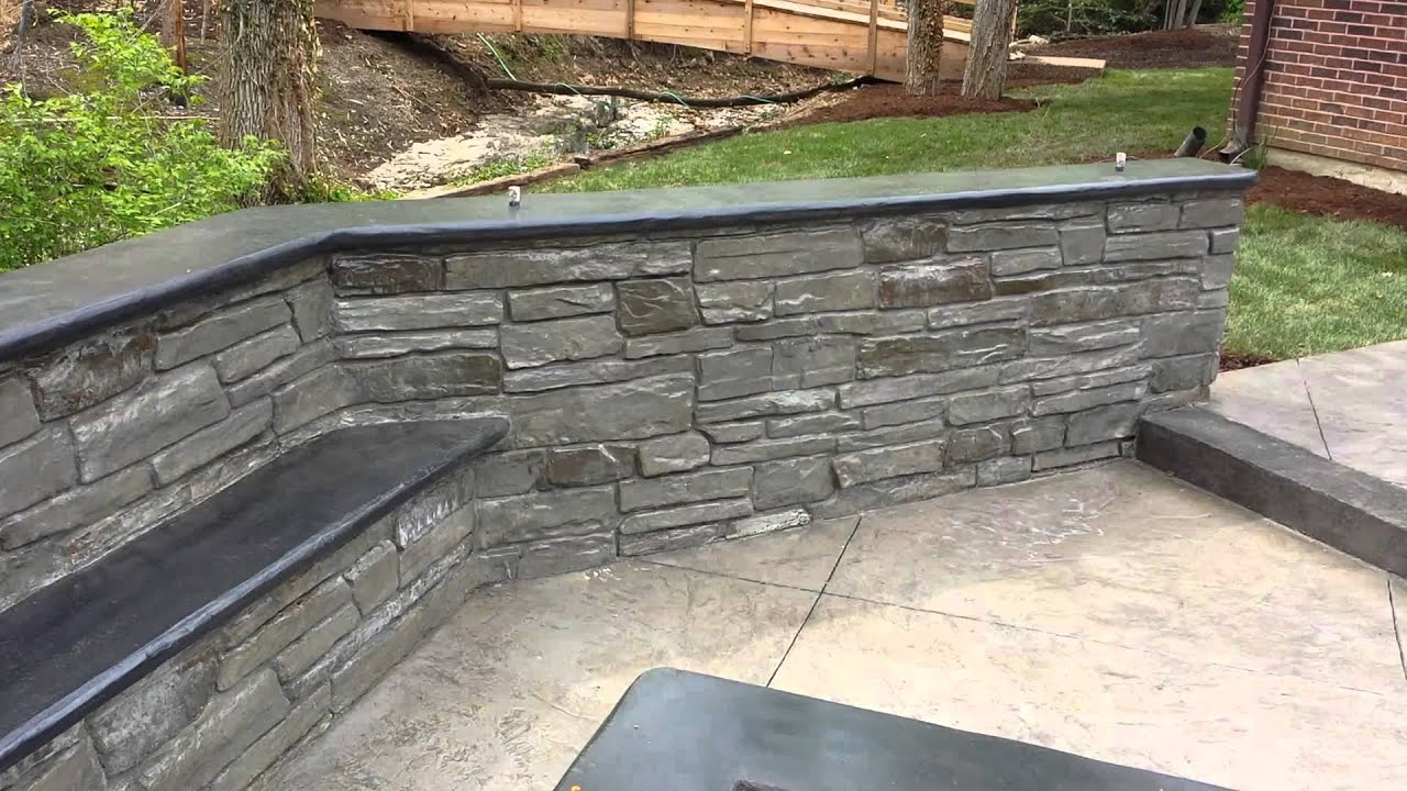 Stamped concrete patio by T & H Foundations StL Mo