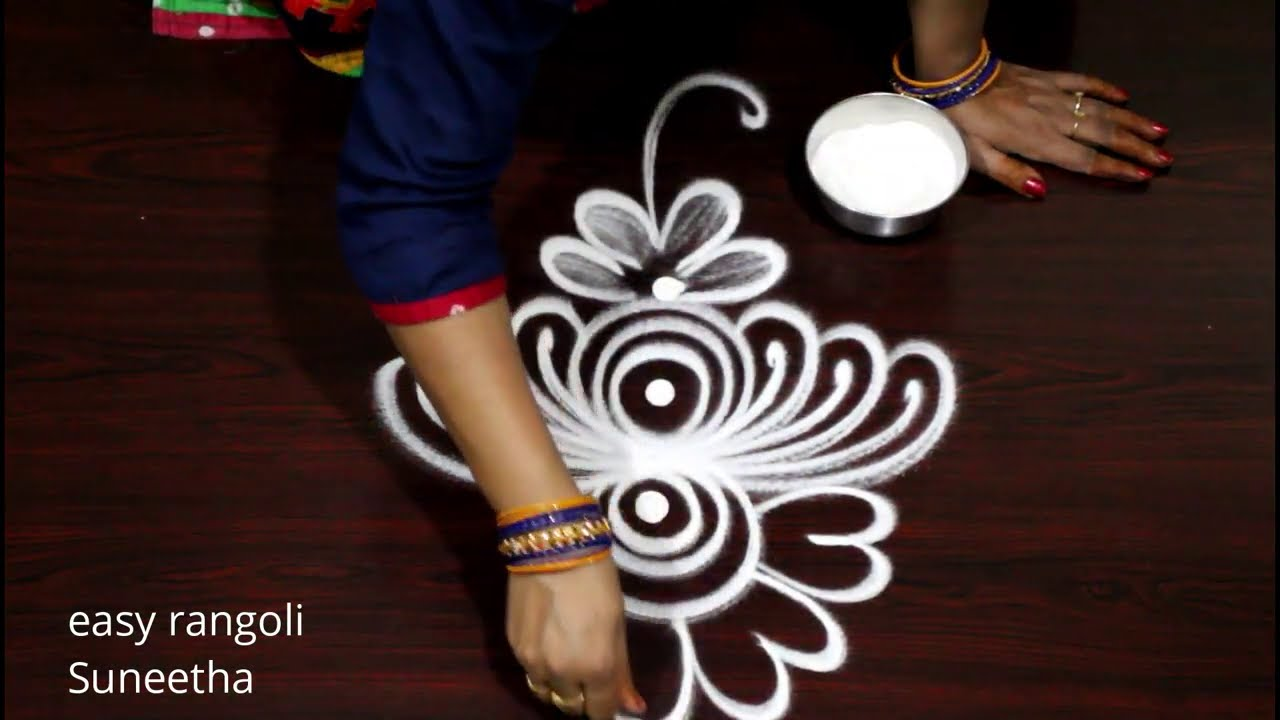 3 Amazing Side/ Steps rangoli & kolam designs || Freehand rangoli muggulu by Suneetha