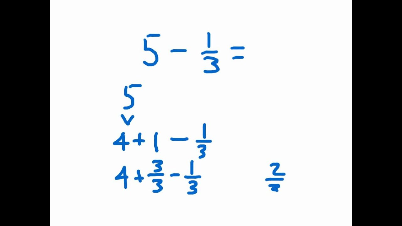 Whole Numbers Minus Fractions