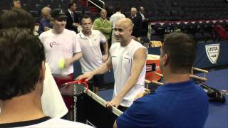 Agassi and Courier sign autographs  | Champions Series Tennis Behind the Scenes