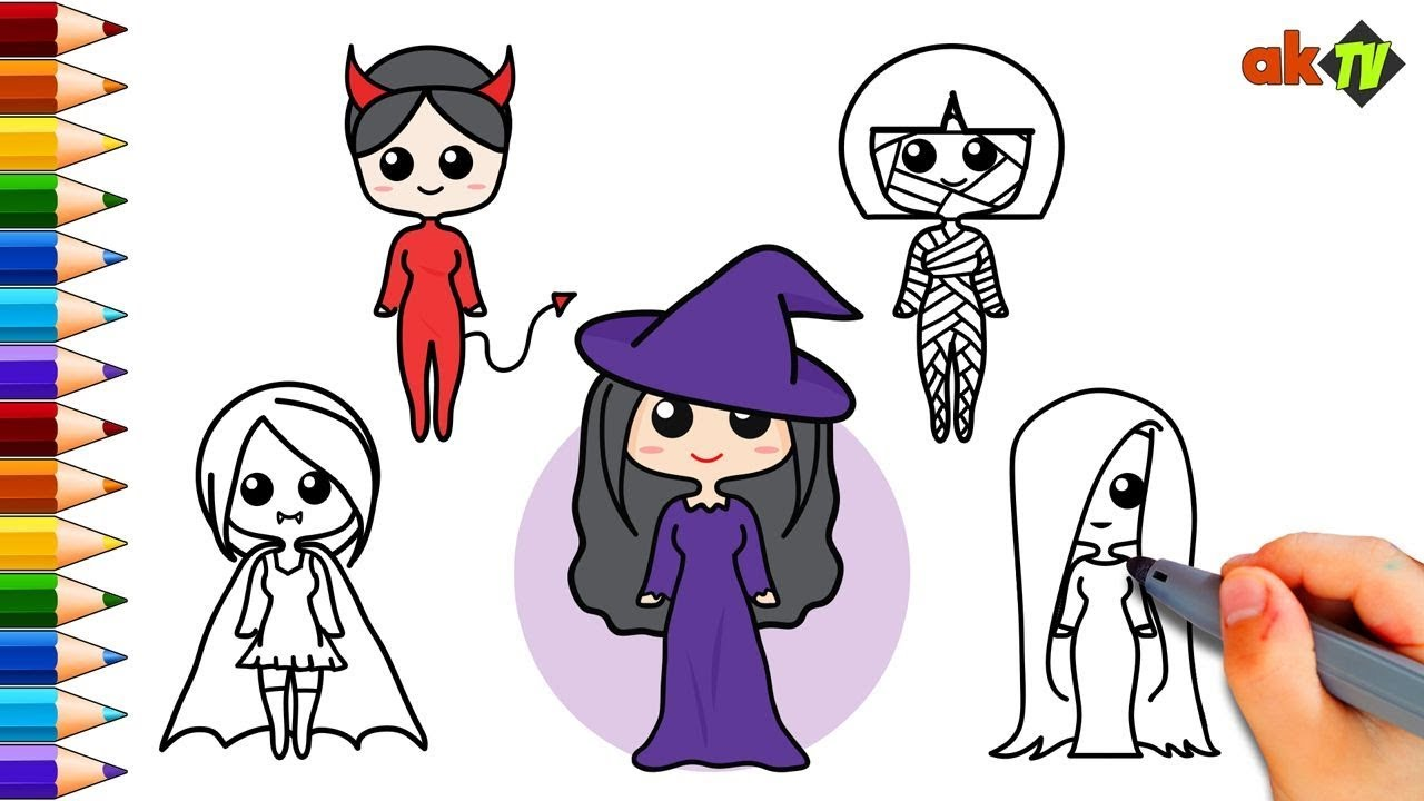 Coloring Pages For Kids Set Of Girl Halloween Costumes