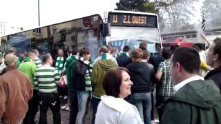 Celtic fans flare in Rennes - outside ground before game - october 2011 20102011002.MP4
