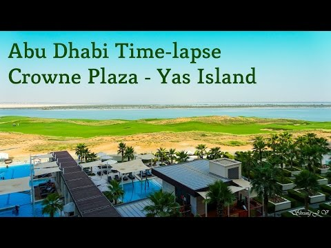 Abu Dhabi - Crowne Plaza Hotel - Time lapse Yas Island Golf Course view