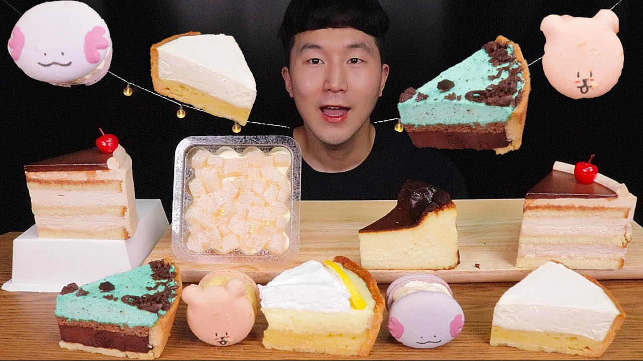 [SUB]행궁동 밀크티 케이크,피치 티라미슈, 치즈케이크,민트,레몬,바닐라 타르트 먹방 (peach tiramisu, cheesecake, vanilla tart)MUKBANG