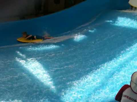 Matthew surfing at Wild Wadi Dubai