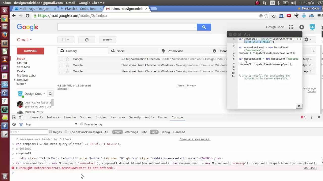 javascript trick - auto click gmail compose button, create and dispatchEvent